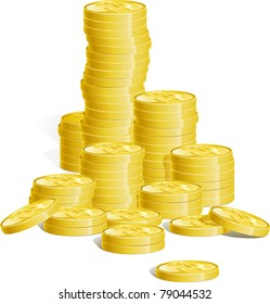 Money. Many stacks of gold coins. There are no meshes in this image.