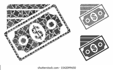 Money mosaic of raggy parts in variable sizes and color hues, based on money icon. Vector unequal parts are organized into collage. Money icons collage with dotted pattern.