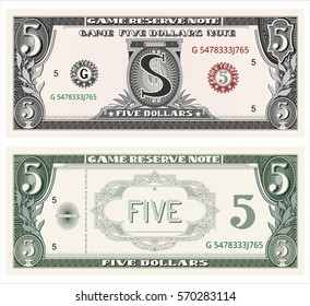 money note for game, cash, five dollar bill payment, number, passion to play, cash, the note