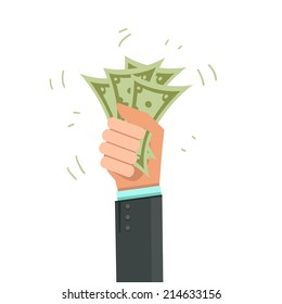 Money on hand. Businessman giving a cache. Vector illustration in flat style isolated on white
