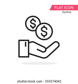 Money on hand symbol Vector Object Picture Image Graphic Glyph Outline Icon