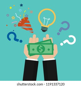 Money on the palm with light bulb and confetti popper, question mark. Fundraising concept. Crowdfunding or idea for money vector concept in flat style