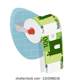 money on toilet paper roll