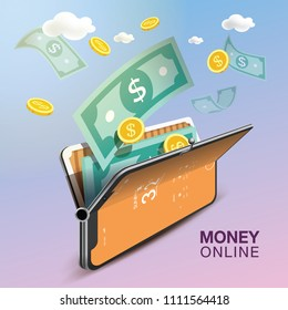 Money Online Mobile Phone VECTOR