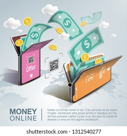 Money online on mobile phone, vector design. Capital flow, earning or making money. Financial savings