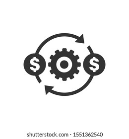 Money optimization icon in flat style. Gear effective vector illustration on white isolated background. Finance process business concept.