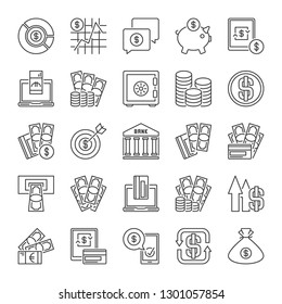 Money outline icons collection. Vector set of cash, banknotes, cards and bank concept symbols in thin line style