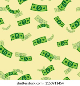 Money pattern on pale yellow background, Pattern graphic style, Vector illustration