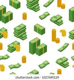 Money pattern with us dollar banknote, vector illustration