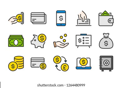 Money and payment color line icons. Finance and commerce vector linear colorful icon set. Isolated icon collection on white background.