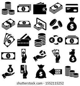 Money and payment icons, logo isolated on white background