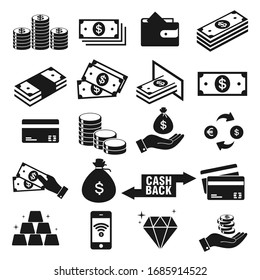 Money and payment icons set, isolated on white background, vector Illustration
