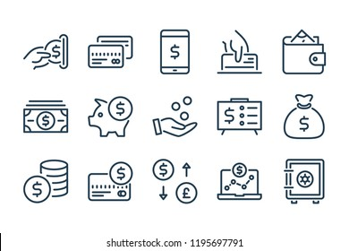 Money and payment line icons. Dollar and Cash vector linear icon set.