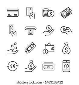 Money and payment line icons set vector illustration
