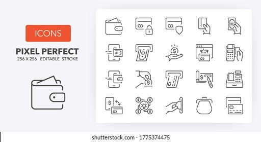 Money and payment methods  thin line icon set. Outline symbol collection. Editable vector stroke. 256x256 Pixel Perfect scalable to 128px, 64px...