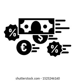 Money percent converter icon. Simple illustration of money percent converter vector icon for web design isolated on white background