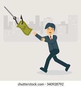 The money phishing and bait. Business concept cartoon illustration
