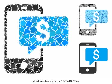 Money phone SMS composition of bumpy parts in variable sizes and shades, based on money phone SMS icon. Vector joggly dots are united into collage. Money phone SMS icons collage with dotted pattern.