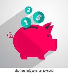 Money Pig Bank Vector Illustration