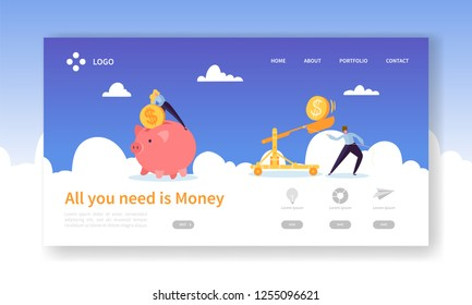 Money Pig Saving for Profit Landing Page. Finance Deposit Earning with Coin Icon. Symbol of Financial Investment for Website or Web Page. Flat Cartoon Vector Illustration