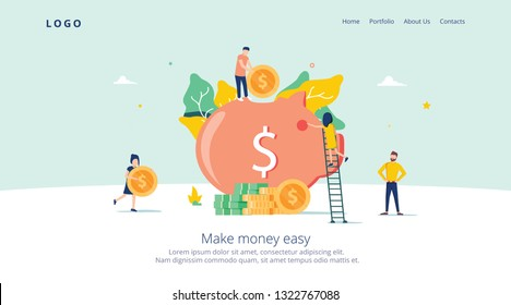 Money Pig Saving for Profit Landing Page. Finance Deposit Earning with Coin Icon. Symbol of Financial Investment for Website or Web Page. Flat Cartoon Vector Illustration. Earn money easy vector art