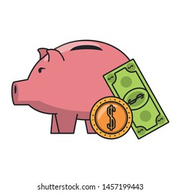 Money piggy with coin and billet symbols vector illustration