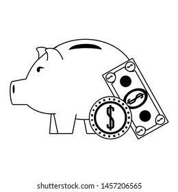 Money piggy with coin and billet symbols in black and white vector illustration