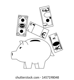Money piggy with euro, dollar and yen billets in black and white vector illustration
