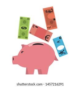 Money piggy with euro, dollar and yen billets vector illustration