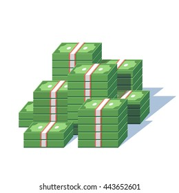 Money pile. Stacked packs of dollar bills. Minimal style flat vector illustration.