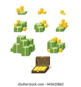 Money piles set. Collection of stacked pile of green dollars cash, gold coins and gold bars in suitcase. Flat style vector illustration.