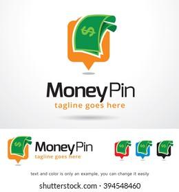 Money Pin Logo Template Design Vector