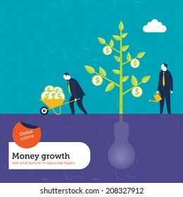Money Plant grows with ideas. Vector illustration Eps10 file. Global colors. Text and Texture in separate layers.