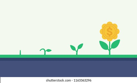 Money plant growth process. Financial growth concept vector illustration