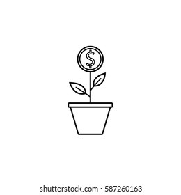 Money plant line icon, finance and business, start up and economic growth vector graphics, a linear pattern on a white background, eps 10.
