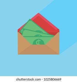 Money in post envelope flat vector icon illustration of hidden wages. Money in envelope.