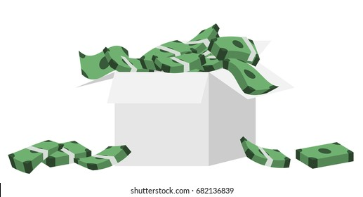 Money pours out in a cardboard box.