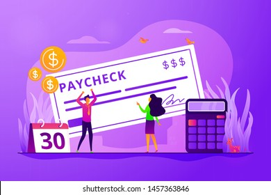 Money prize. Cash lottery winning. Salary payment. Calendar with payday. Tax free income. Paycheck cash, payroll tax deposit, payroll software concept. Vector isolated concept creative illustration