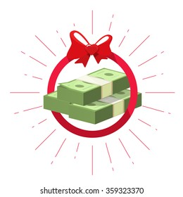 Money prize win vector symbol flat icon, pile of american dollars cash win, abstract rays emblem, gift award heart bow ribbon, game achievement label, illustration design isolated on white