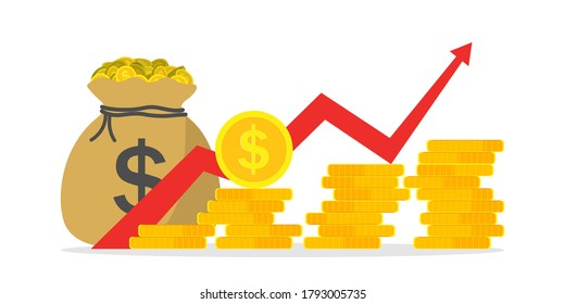 Money profit growth. Chart of revenue, margin. Graph of budget up. Investment finance - return of cash. Growth market and economy. Earn on business and inflation. Icon of increase gain benefit. Vector