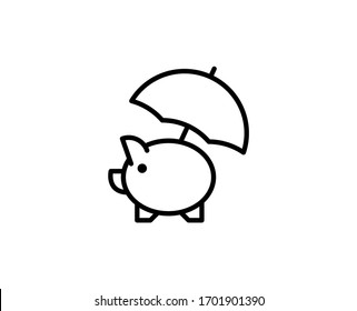 Money protect line icon. Vector symbol in trendy flat style on white background. Web sing for design.