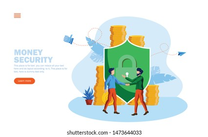 money protection, security behind the shield vector illustration concept