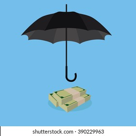 money protection with umbrella cover stack of money