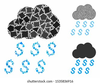 Money rain composition of humpy elements in variable sizes and color hues, based on money rain icon. Vector joggly elements are grouped into collage. Money rain icons collage with dotted pattern.