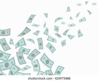 Money rain falling from above. Vector Illustration.