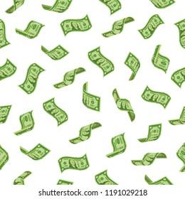 Money rain. Falling dollars denominations, raining cash banknotes or flying dollar banknote charitable investment. Wealth abundance, bill economy or banking taxes seamless vector backdrop
