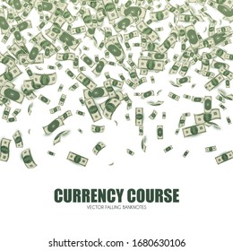 Money rain. Flying banknotes background. Currency course.