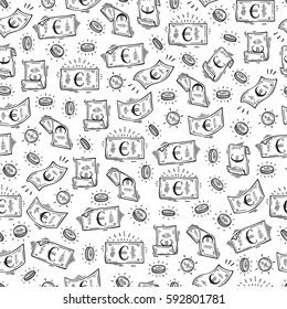 Money rain Vector Seamless pattern. Hand Drawn doodle Euro Banknotes and Coins