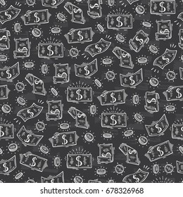 Money rain Vector Seamless pattern. Hand Drawn doodle Dollar Banknotes and Coins
