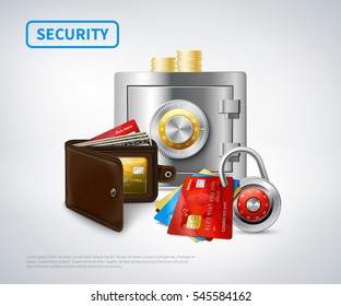 Money realistic security set of metal closed safe wallet credit cards padlock golden coins isolated vector illustration
